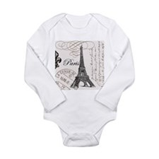 Vintage Paris Eiffel Tower Long Sleeve Infant Body
