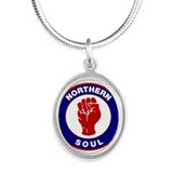 Retro Northern Soul Design Silver Oval Necklace