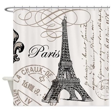 Grunge Vintage Paris Stamp Shower Curtain by patzign2