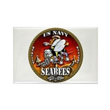 US Navy Seabees Gold Lava Glow Rectangle Magnet (1
