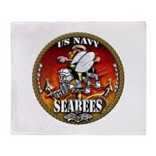 US Navy Seabees Gold Lava Glow Throw Blanket