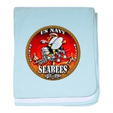 US Navy Seabees Gold Lava Glow baby blanket