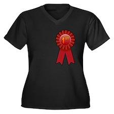 1st Place Ribbon Women's Plus Size V-Neck Dark T-S