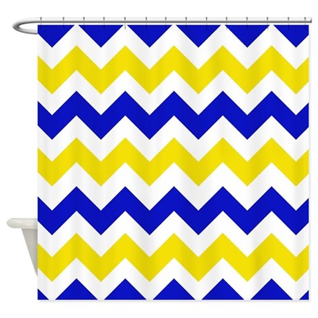 Yellow And Blue Chevron Shower Curtain By Chevroncitystripes
