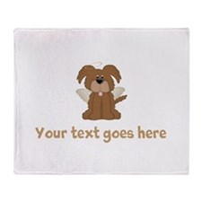 Personalized Angel Puppy Dog Throw Blanket
