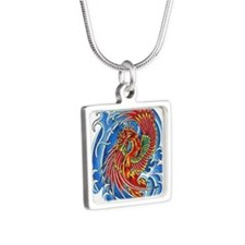 Phoenix Arisen Silver Square Necklace