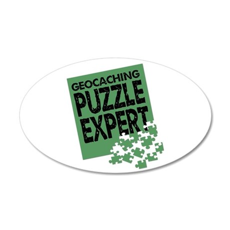 Geocaching Puzzle Expert 35x21 Oval Wall Decal