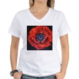 Red Poppy on Black T-Shirt