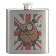 bulldog union jack Flask