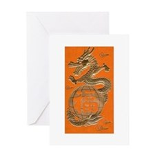 Good Luck Golden Dragon Greeting Card