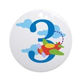 3rd Birthday Airplane Ornament (Round)