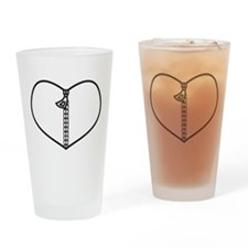 Zipper Heart Drinking Glass