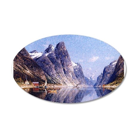 A Norwegian Fjord Scene 20x12 Oval Wall Decal