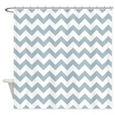 Light Blue White Zigzag Chevron Pattern Shower Cur
