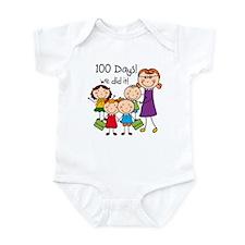 Kids and Female Teacher 100 Days Infant Bodysuit