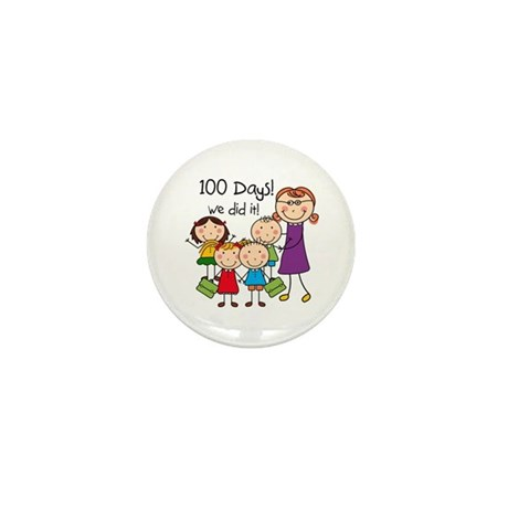 Kids and Female Teacher 100 Days Mini Button (10 p