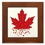 Red Maple Leaf Hearts Framed Tile