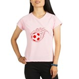 Red Soccer Flame Ball Performance Dry T-Shirt