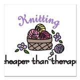"Cheaper Than Therapy Square Car Magnet 3"" x 3"""