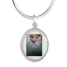 Cat! Animal, pet art! Silver Oval Necklace