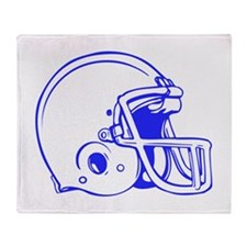 Blue Football Helmet Throw Blanket