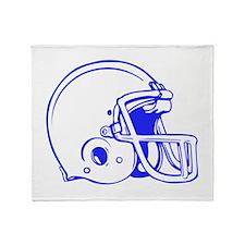 Blue Football Helmet Throw Blanket