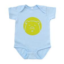Cute Green Piggy Design Infant Bodysuit