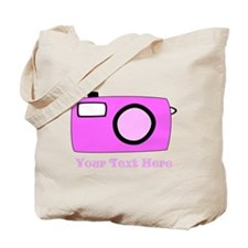 Pink Camera and Custom Text. Tote Bag