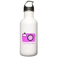 Pink Camera and Custom Text. Water Bottle
