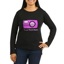 Pink Camera and Custom Text. T-Shirt