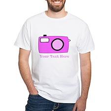 Pink Camera and Custom Text. Shirt