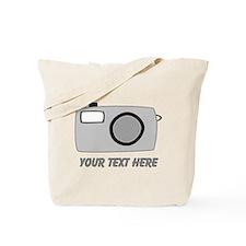 Gray Camera and Text. Tote Bag