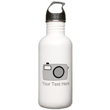 Gray Camera and Text. Water Bottle