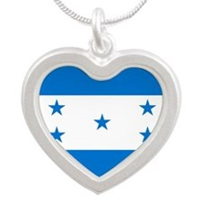 Flag of Honduras Silver Heart Necklace