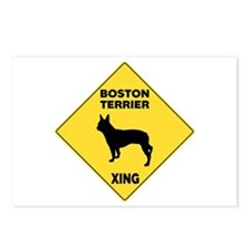 Boston Terrier Crossing Sign Postcards (Package of
