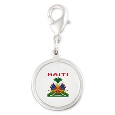 Haiti Coat of arms Silver Round Charm