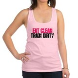 Eat Clean Train Dirty [Pink & Black] Racerback Tan