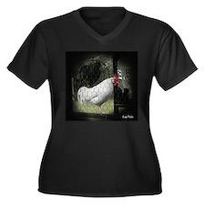 Rooster Trio Women's Plus Size V-Neck Dark T-Shirt