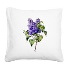Lilac Drawn From Nature Square Canvas Pillow