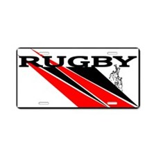 Rugby Line Out Red Black Aluminum License Plate