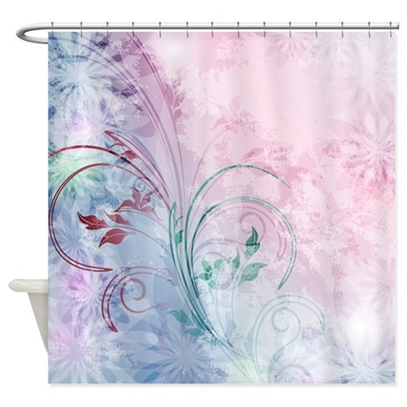 flowers swirl bathroom d cor pink and blue floral shower curtain
