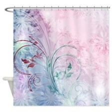 Pink And Blue Floral Shower Curtains Pink And Blue Floral Fabric Shower Cur