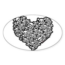 Cute Skull Hearts Decal