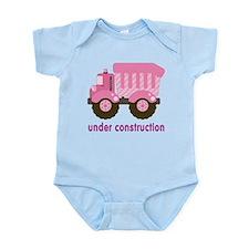 Under Construction Pink Truck Infant Bodysuit