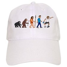 evolution soccer player comic Baseball Cap
