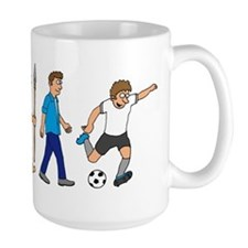 evolution soccer player comic Mug