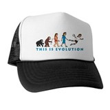 evolution female handball player comic Trucker Hat