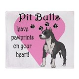 Pit Bulls Pawprints Throw Blanket