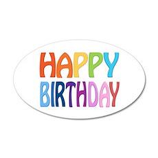 happy birthday - happy 35x21 Oval Wall Decal