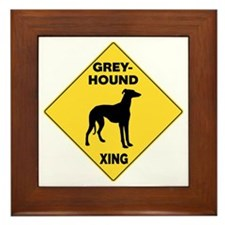 Greyhound Crossing Sign Framed Tile